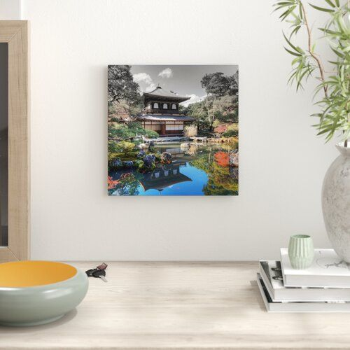 Ginkaku-ji-Temple in Kyoto Photographic Print on Canvass East Urban Home Size: 60cm H x 60cm W