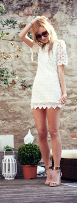 pretty #white crochet shift dress http://rstyle.me/n/hqgewr9te