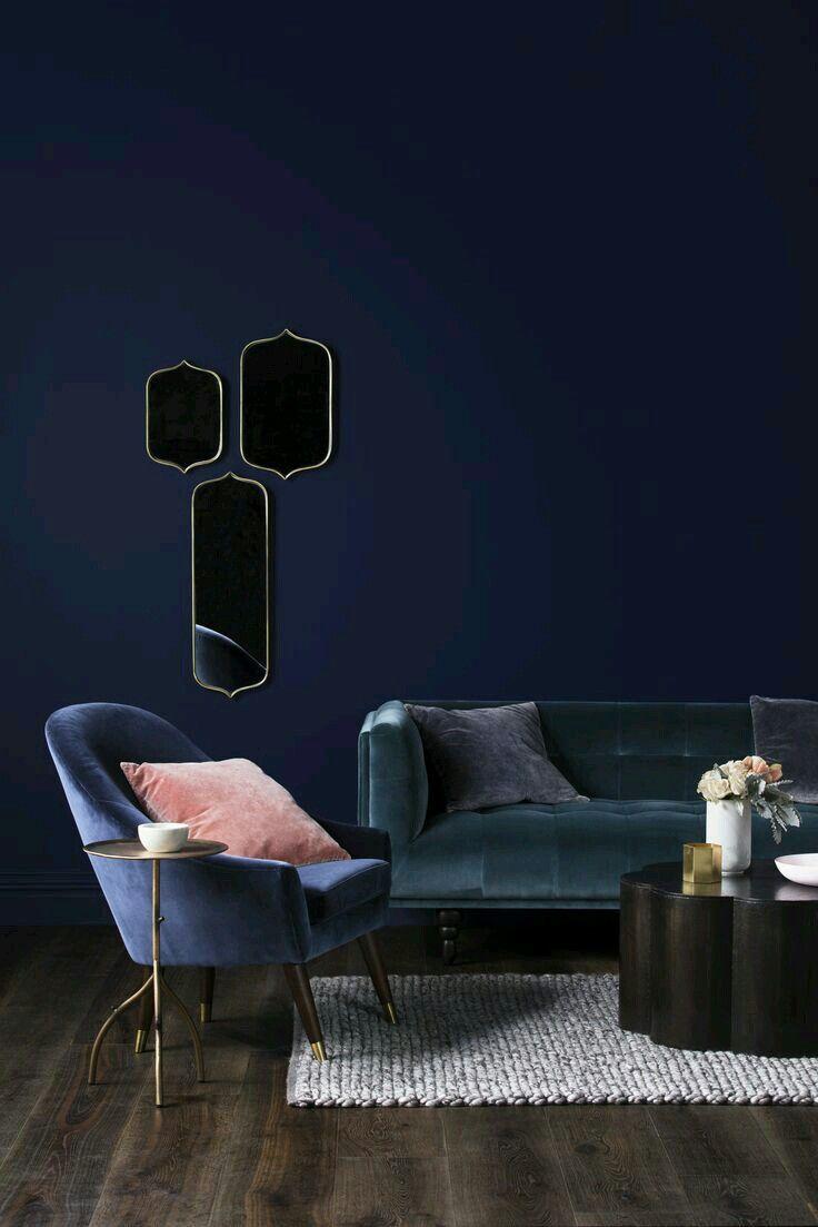 spelndid navy blue velvet sofa. https www instagram com adriennemott  Dream Living Room