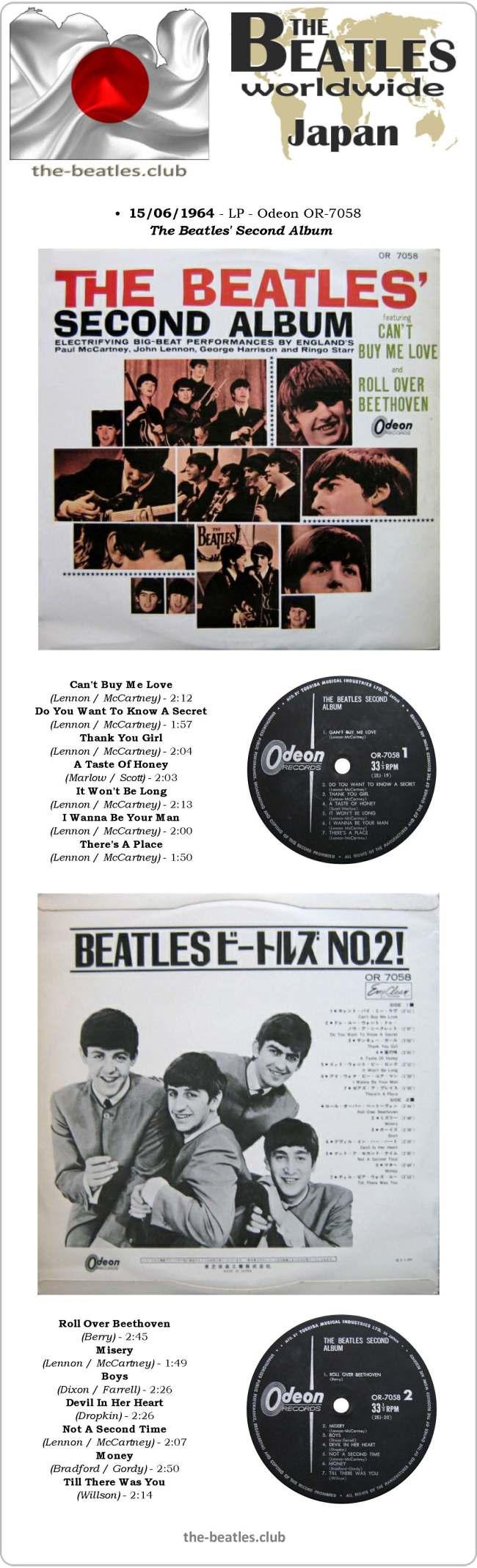 "The Beatles Japan LP Odeon OR 7058 Second Album Long Play Vinyl Record 12"""
