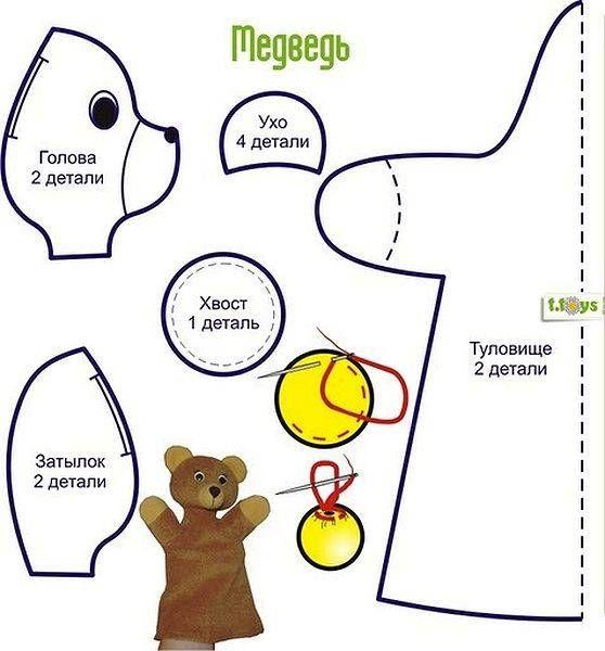 Медведь на руку с выкройкой