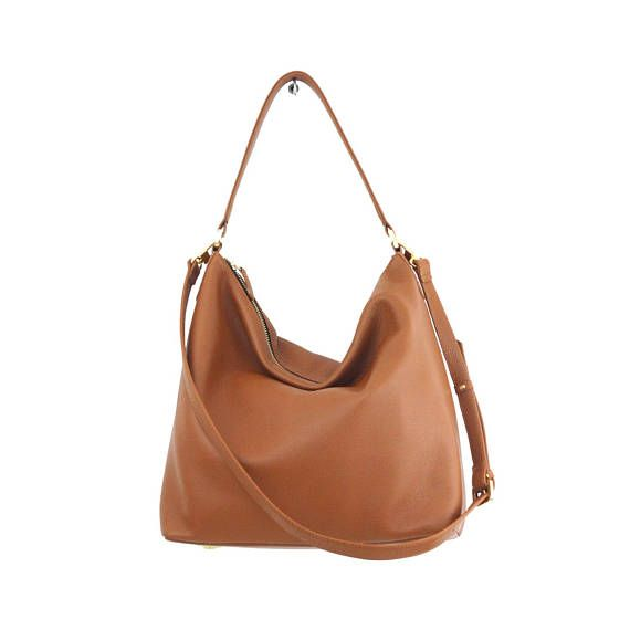 6ddff31a27d2 NELA hobo leather bag in tan   camel brown ❥ Buttery soft leather! ❥ This  tan leather hobo bag is made from high quality pebbled Italian leather and  is ...