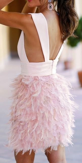 Pale Pink Feather Skirt Dresses Pretty Dresses Plunge Dress