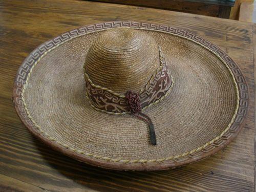 Old-Mexican-Sombrero-3-Western-Charro-Hat-Straw-Rustic-Vaquero-El-Charro 87de6841eed