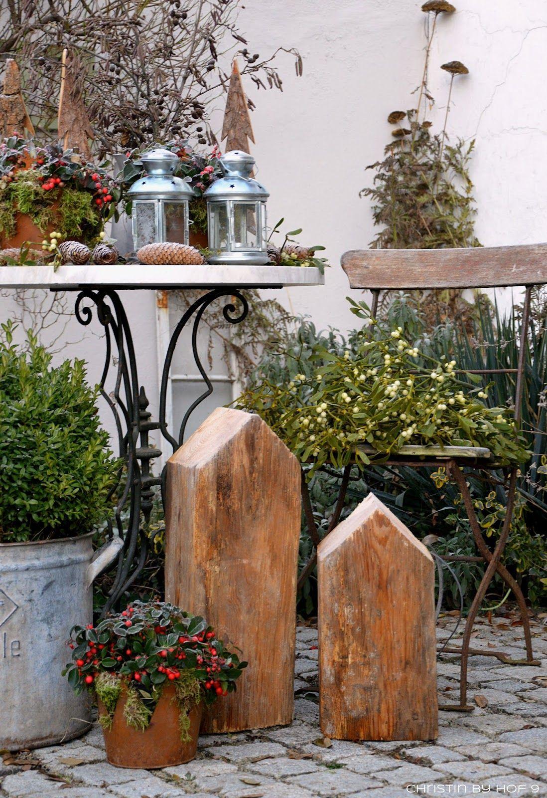 innenhofdekoration im winter au endekoration mit naturmaterialen dekoration mit zink shabby. Black Bedroom Furniture Sets. Home Design Ideas