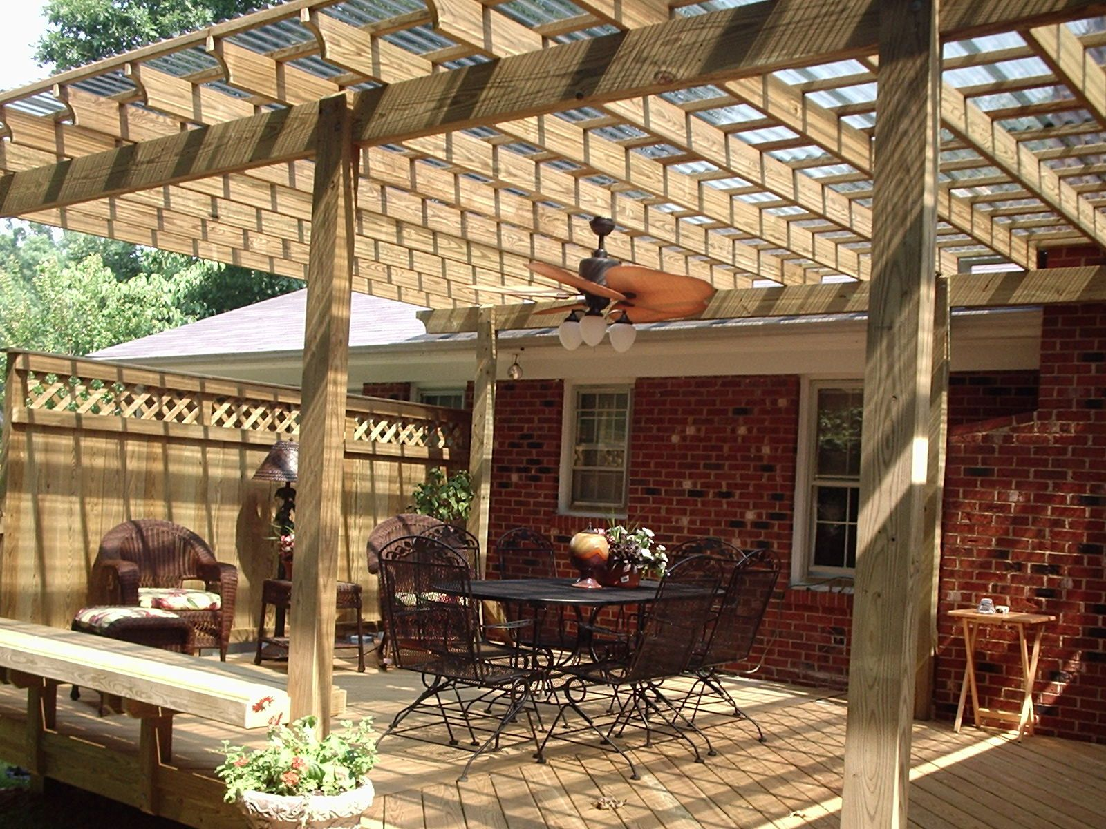 Get the shade you need with a pergola or covered porch for Ideas for deck designs