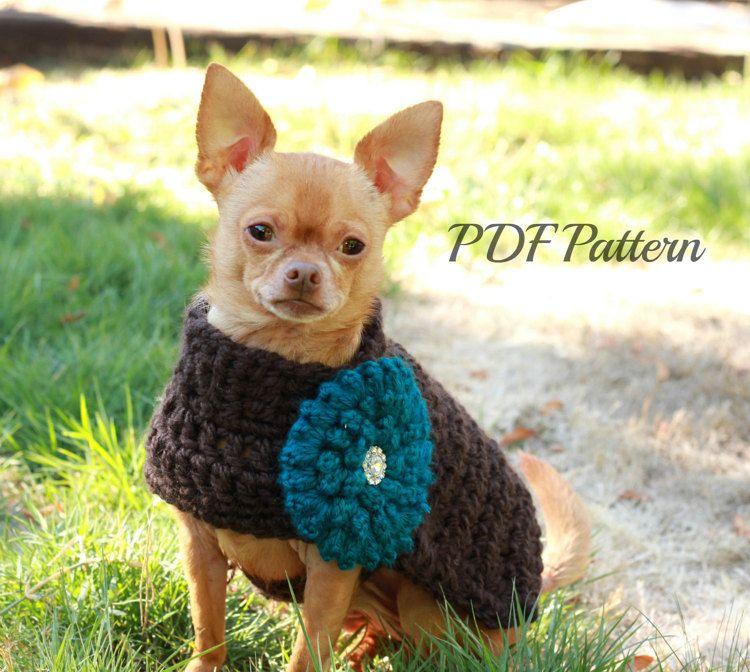 Crochet Dog Sweater Pattern Chunky With Flowersmall To Medium Dog