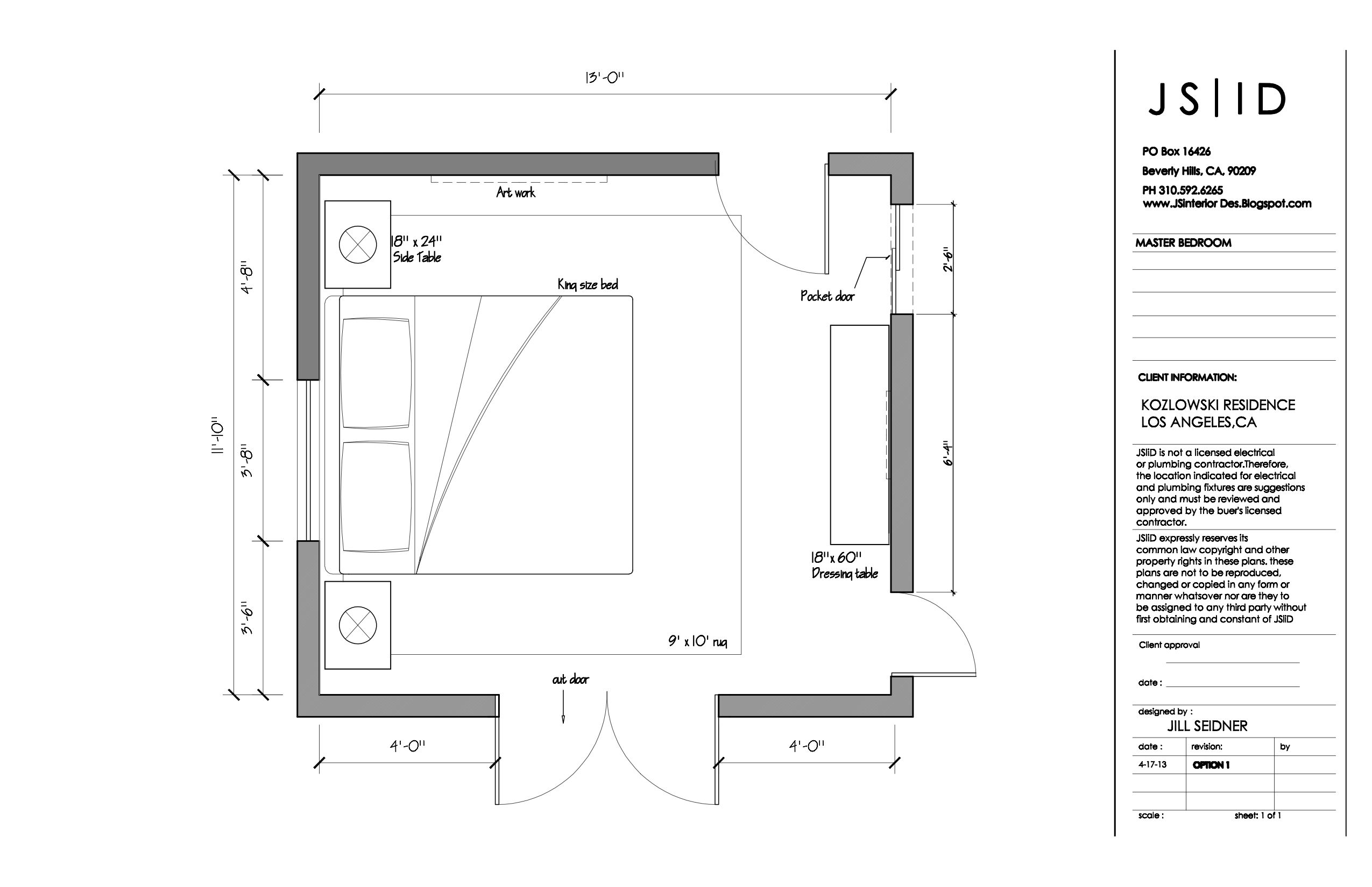 Los Angeles Craftsman House Master Bedroom Furniture Floor Plan Layout, CAD By Jayani Ranasinghe