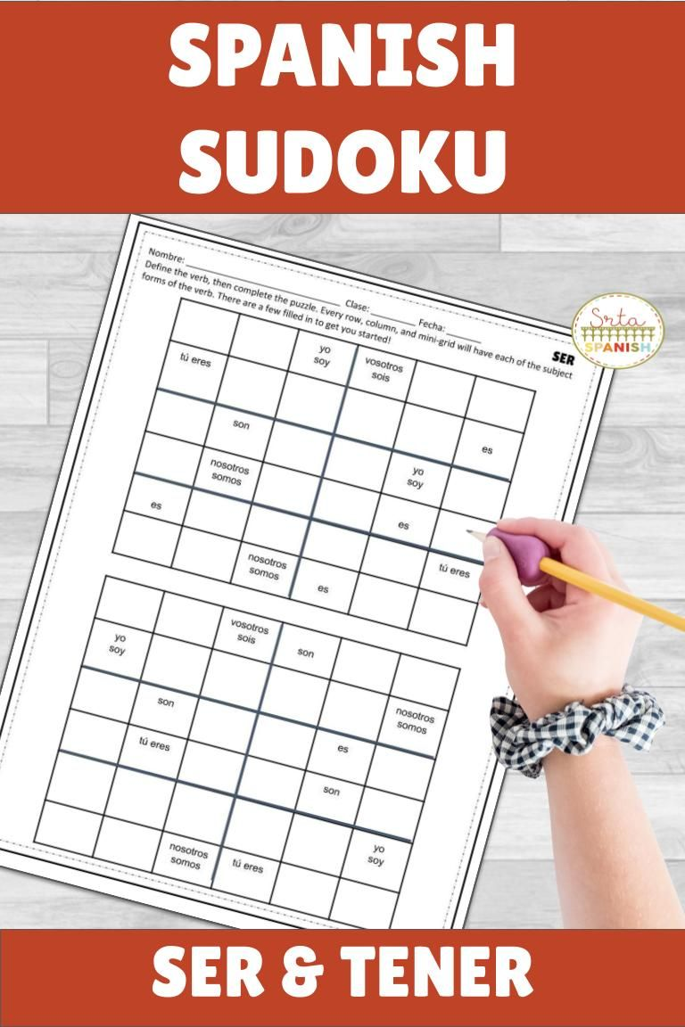 Check Out This Fun And Easy To Use Spanish Sudoku Puzzle Activity Great For Students From Middle Spanish Lesson Plans Conjugation Practice Business Worksheet [ 1152 x 768 Pixel ]