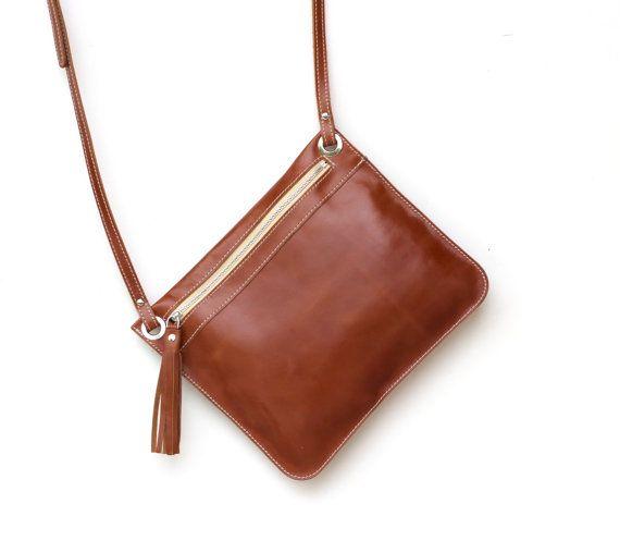 d29ff7bcf49 Brown Leather crossbody bag flat crossbody purse zipper by BogaBag ...