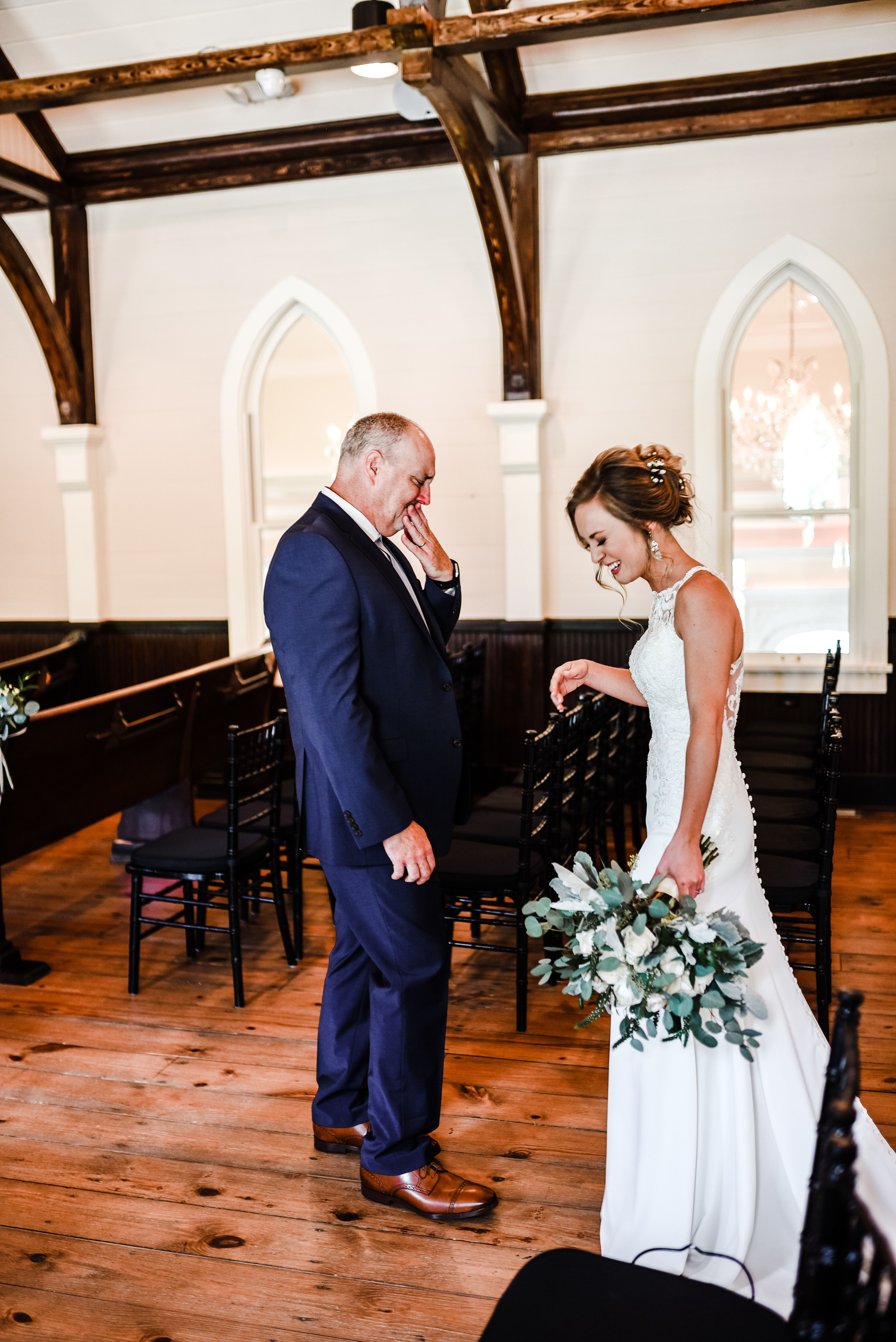Father daughter first look chapel wedding tybee island