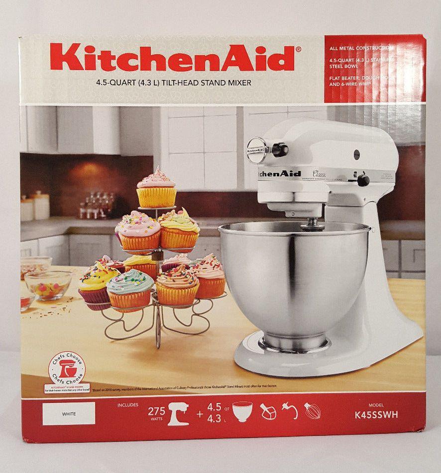 Kitchenaid 45 quart tilthead classic stand mixer k45sswh