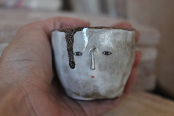 Primitive wonky espresso bowl spice container by KinskaShop