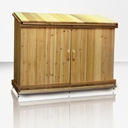 (Cedar Outdoor Storage Sheds For Trash Can And Recycling Bin Storage).