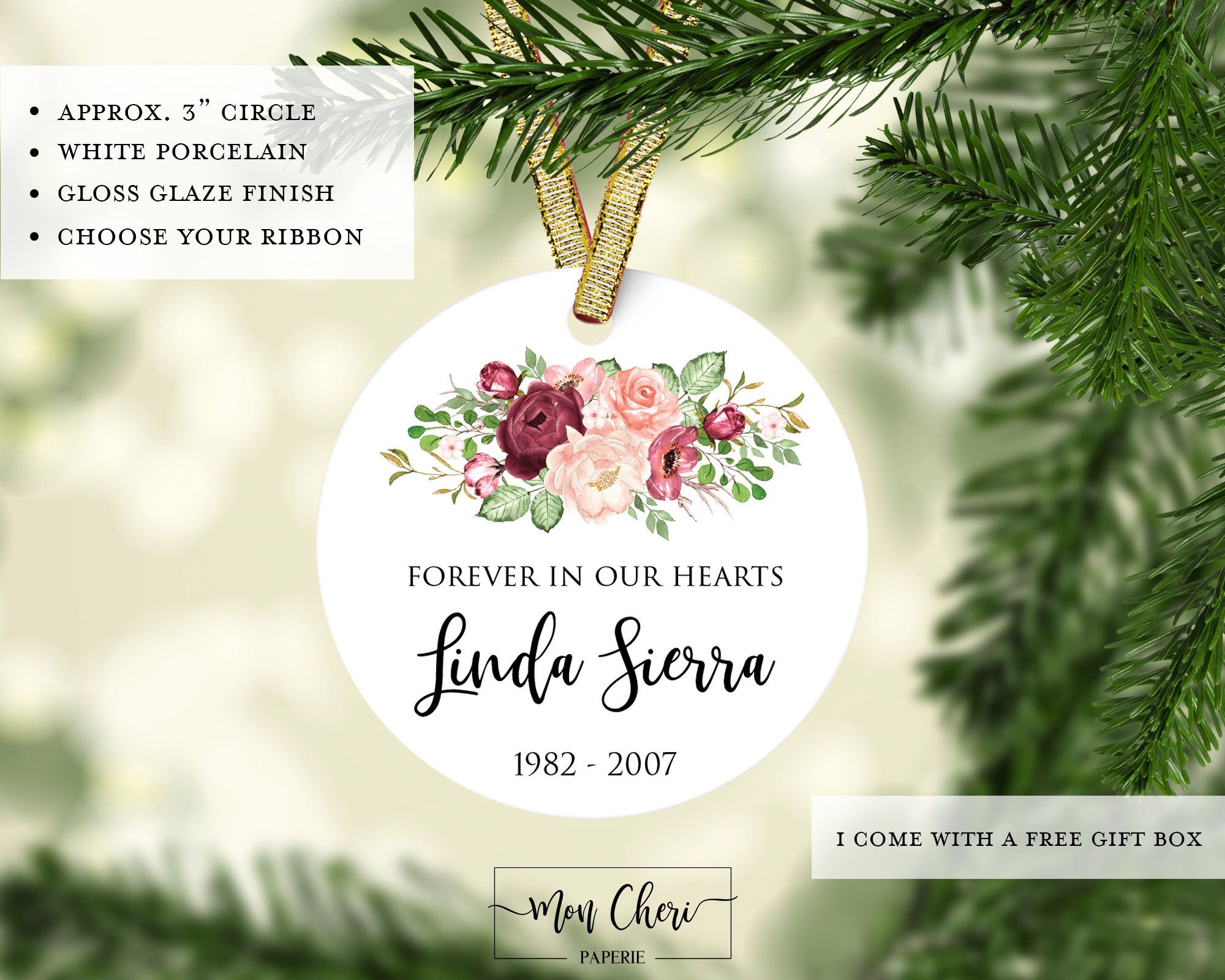 Personalized Floral Ornament Forever In Our Heart | In Memory of ...