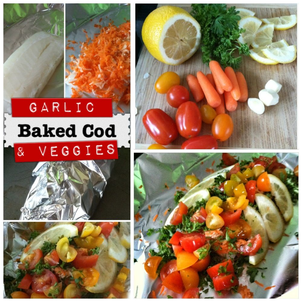 Easy Garlic Baked Cod With Healthy Vegetable Medley