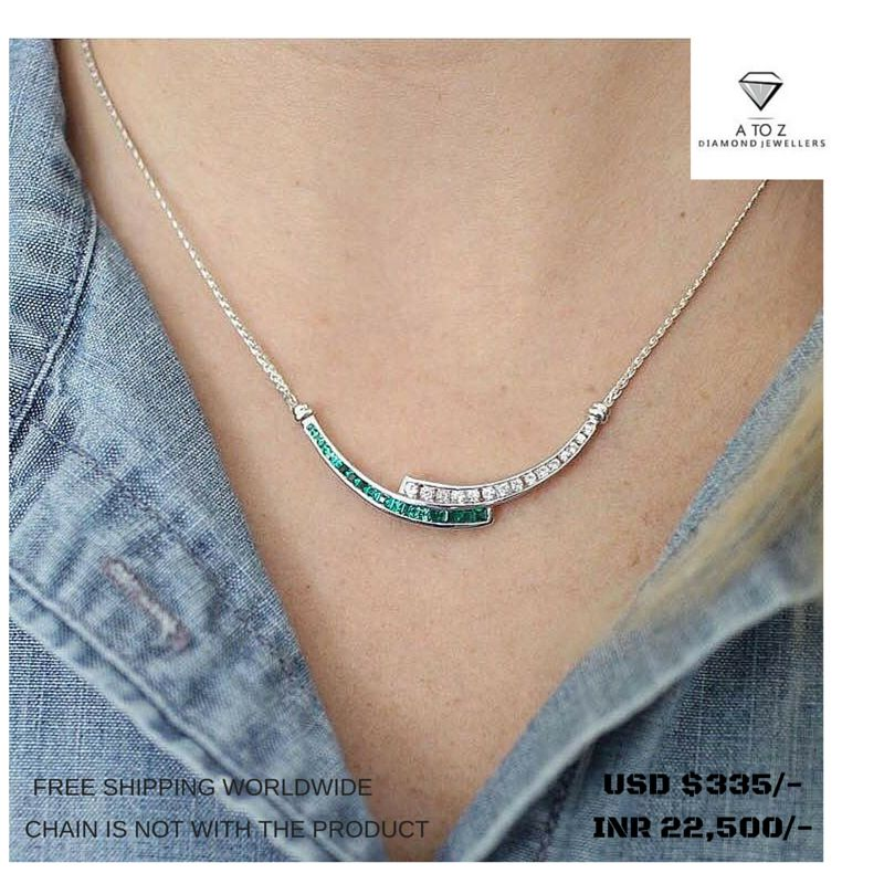 #jaipuratozdiamonds Awesome Handmade Real Diamond Pendant made up in 18 K Gold. The Diamond Weight is 0.30 ct. The Diamond Color is I Color, Vs Clarity. The Emerald Weight is 0.50 ct.