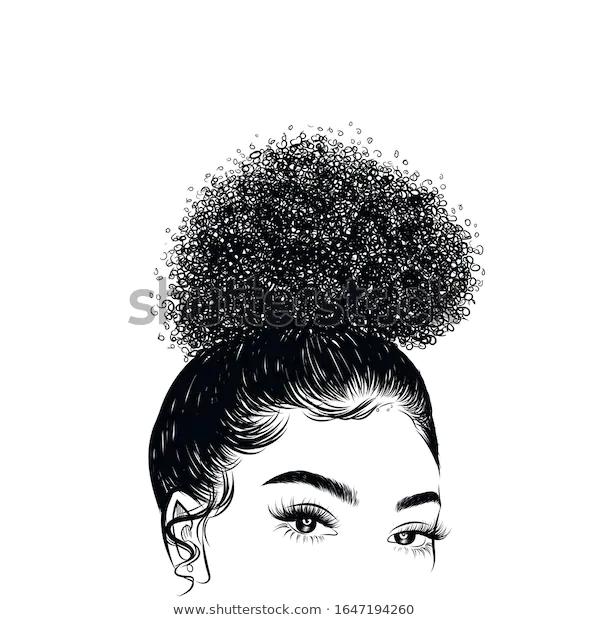 Hand Drawn Curly Hairstyle Hair Bun Stock Vector Royalty Free 1647194260 Curly Hair Drawing Curly Hair Cartoon Curly Hair Styles