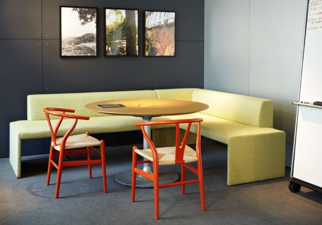 Furniture : Beautiful Contemporary Corner Dining Set Come With Yellow L  Shaped Comfy Bench With Yellow Round Dining Table Plus Modern Orange Wood  Chair With ...