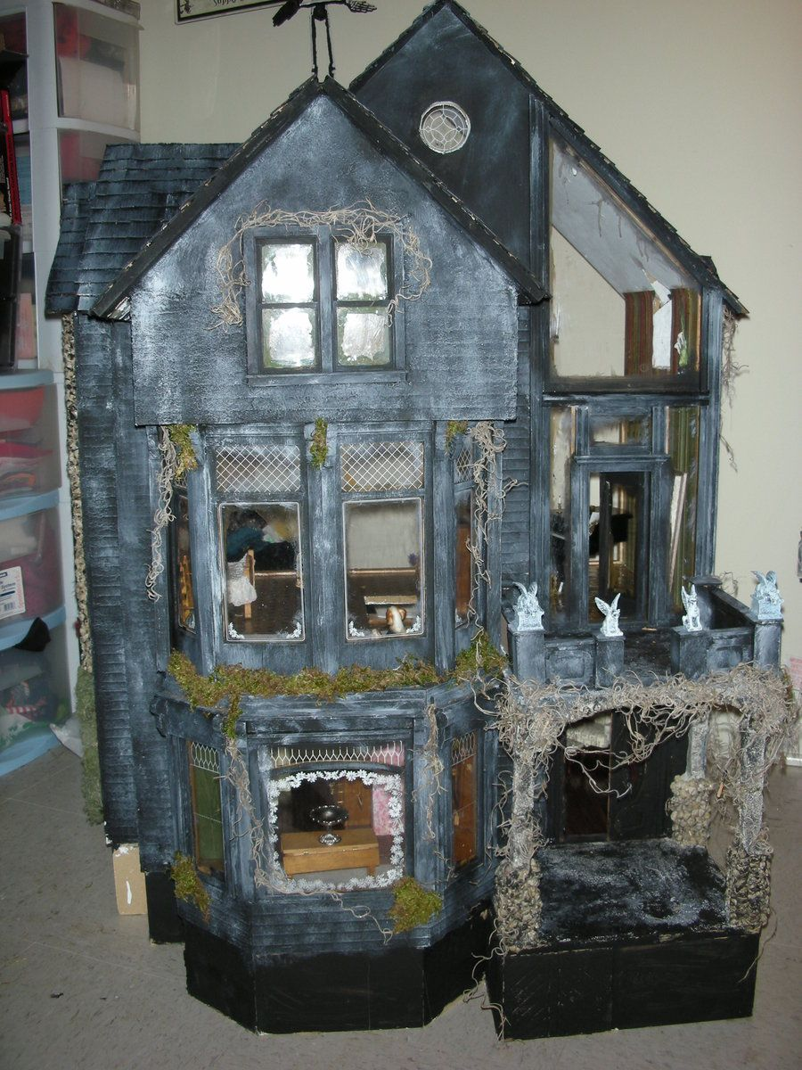 Addams family diy pinterest doll houses miniatures for How to make a cardboard haunted house