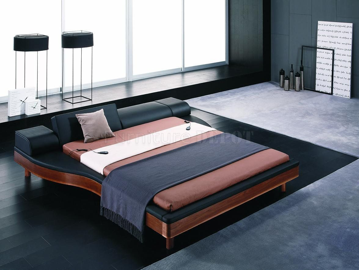 contemporary beds   two-tone black & brown modern bed w/adjustable