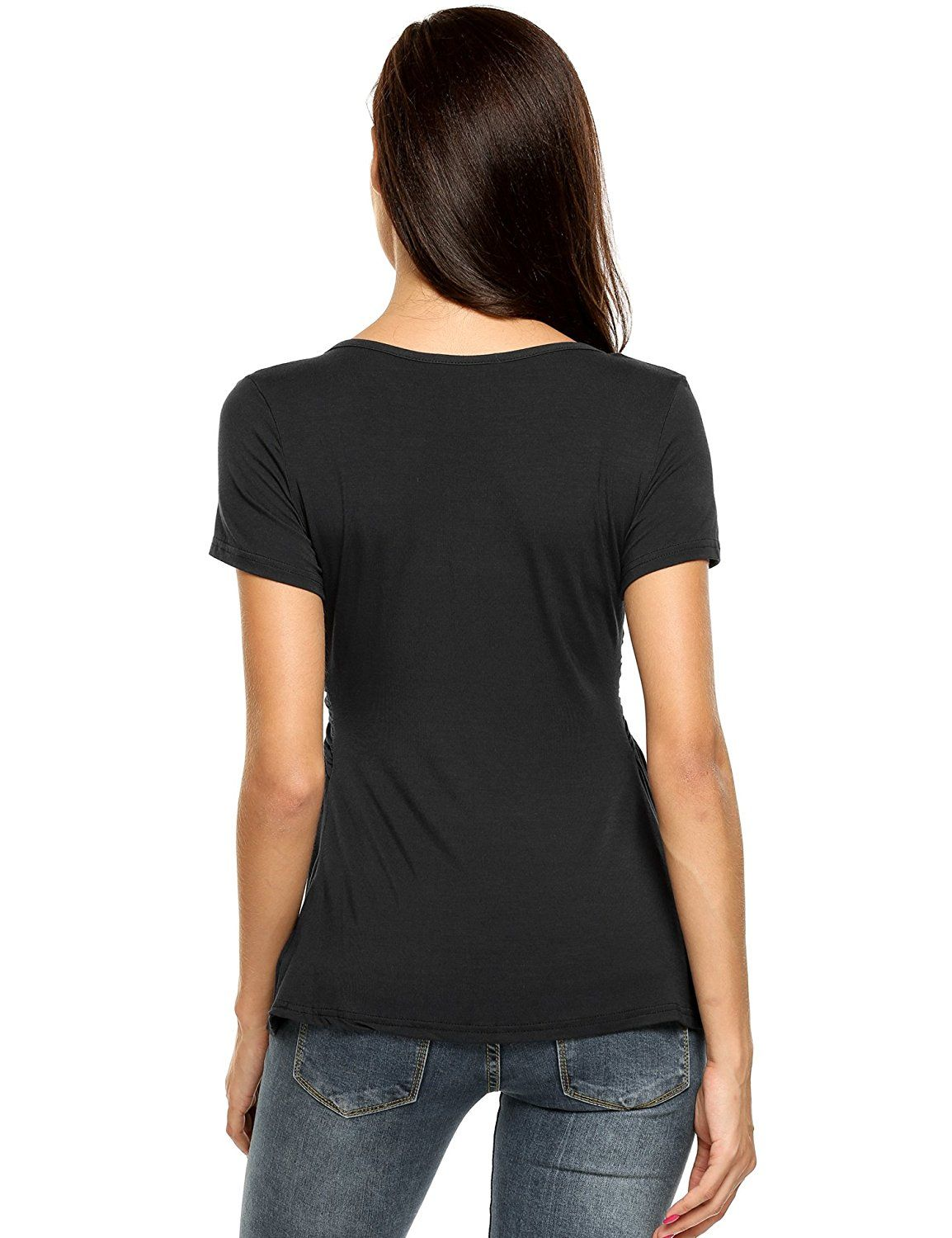 0acab1a4eff67 Soteer Women Deep V-Neck Empire Waist Ruched Slimming T-shirt Blouse Top S- XXL