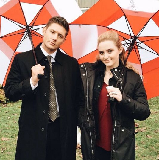 Jensen and Kathryn L. Newton on set, 11x12, close up. Kathryn's Instagram