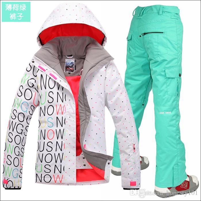 f3bc6bf3ae Gsou Snow Womens Ski Suit Set Snowboard Suit for Women Snow Suit Black  White Ski…