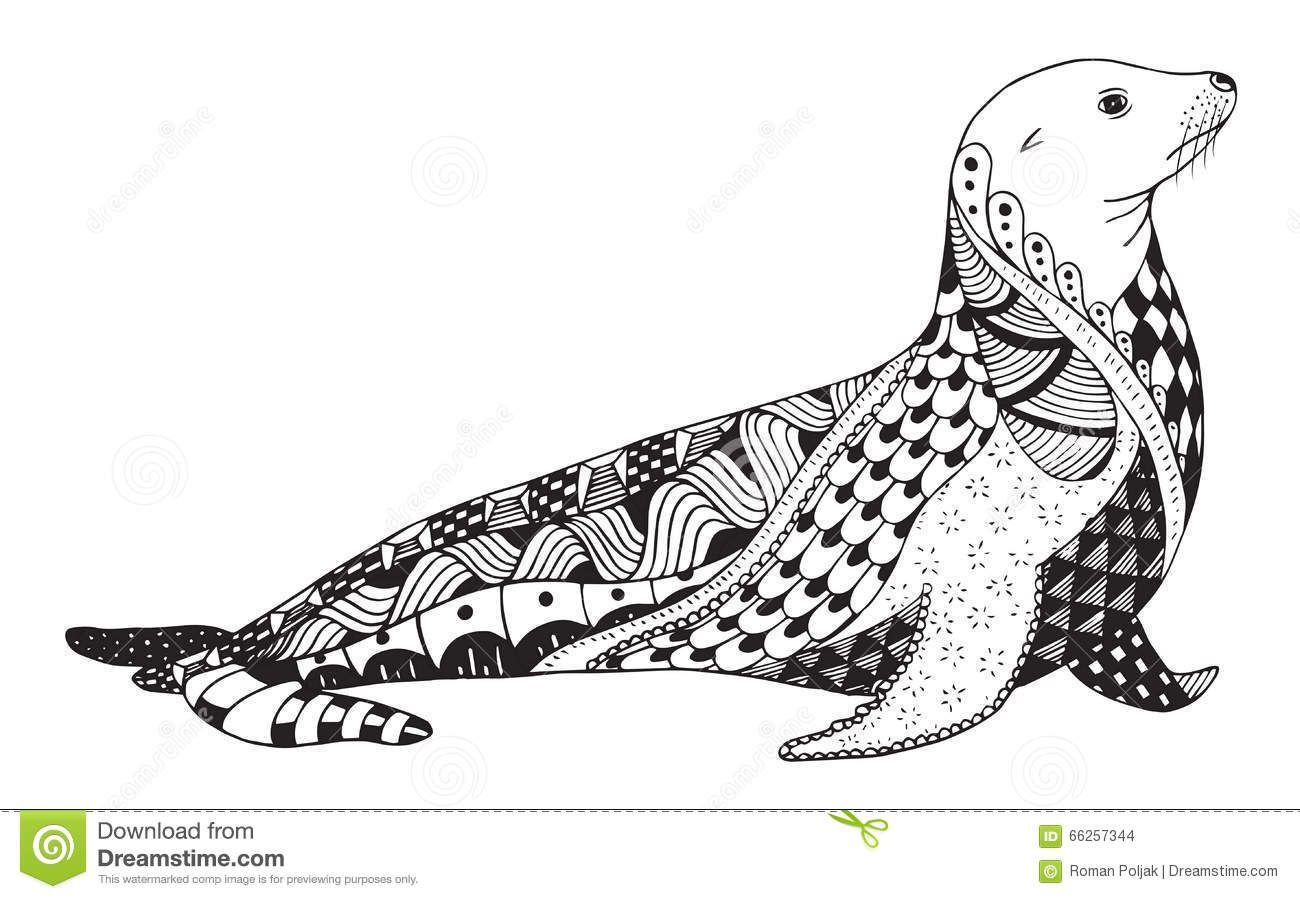 Sea Lion Zentangle Lion Illustration Sea Lion Sea Life Art