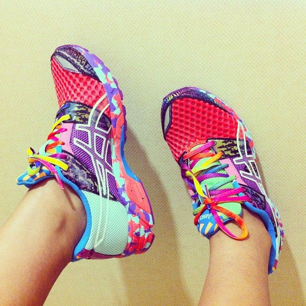 asics multicolor running shoes