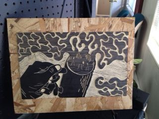 """Aromas in Black""  Linoleum Cut on Wood Mount  2012  by Marcus Pingel"