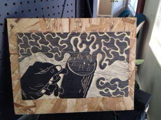 """""""Aromas in Black""""  Linoleum Cut on Wood Mount  2012  by Marcus Pingel"""