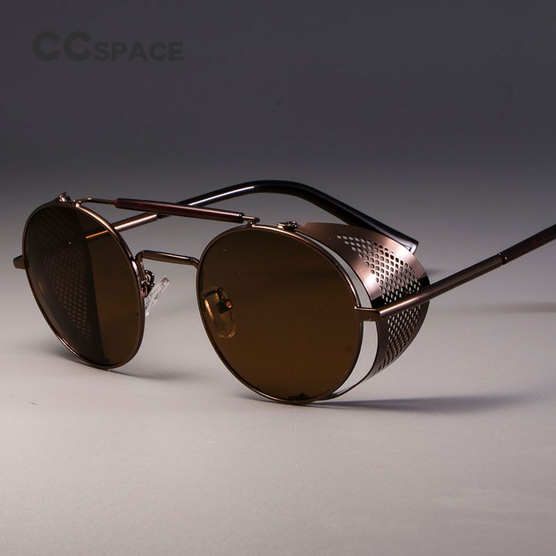 b88065880c779 CCSPACE Retro Round Metal Sunglasses Steampunk Men Women Brand Designer  Glasses Oculos De Sol Shades UV Protection-in Sunglasses from Men s  Clothing ...