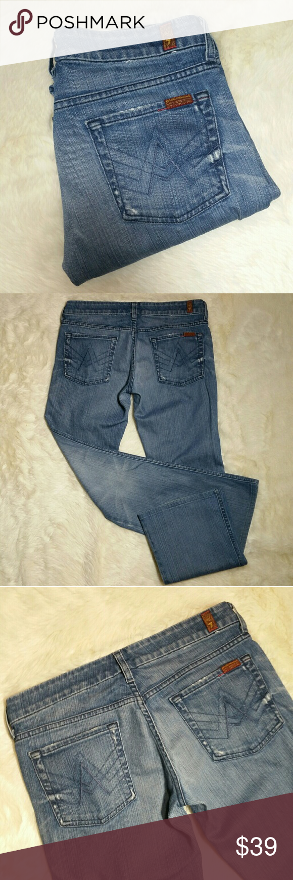 """7 For All Mankind A Pocket Blue Jeans Size 29 7 for all mankind A Pocket Blue jeans, size 29. Lexie """"petite"""" factory inseam of 30.5"""" Medium blue wash jeans with A Pocket detailing in blue stitching. Button and zip fly. Factory distressed at hips and pockets. Super soft comfy denim made up of 98% cotton and 2% polyurethane. Size 29.  Measurements  Waist 16"""" Rise 7.5"""" Inseam 30.5"""" Leg opening 9"""" 7 For All Mankind Jeans Boot Cut"""