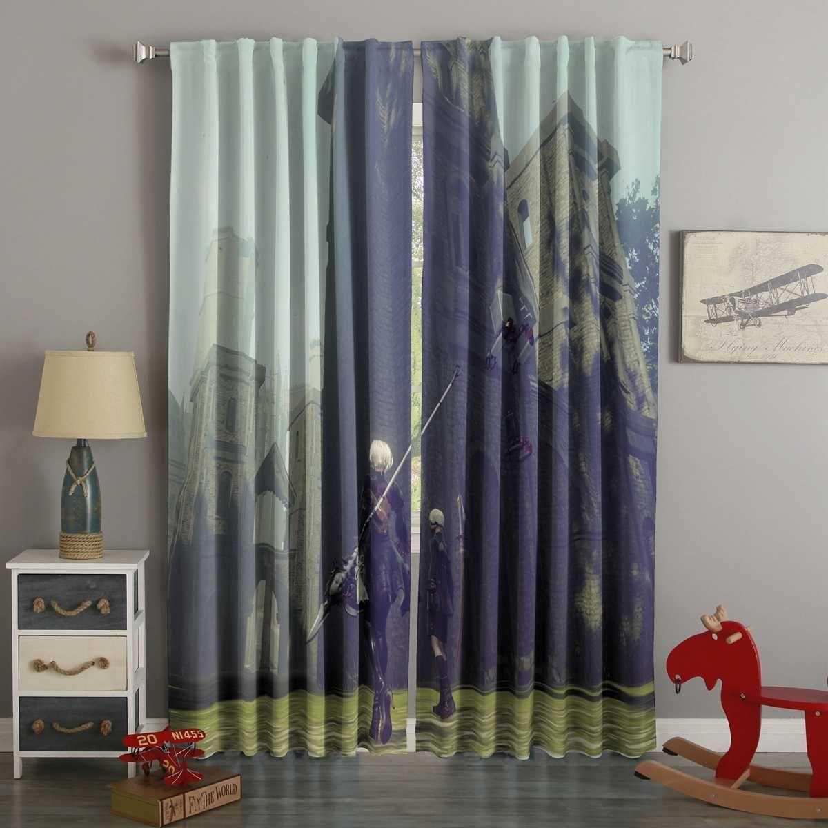 D printed nier automata style custom living room curtains
