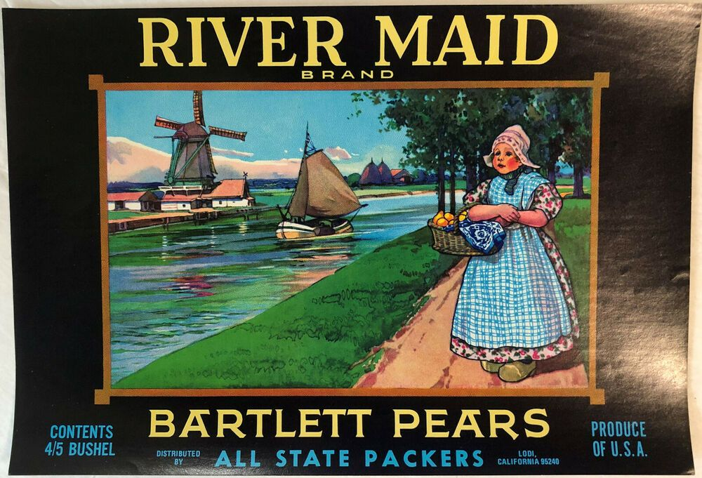 River Maid Vintage Unused Pear Crate Label Dutch Girl Windmill Lodi Ca Ebay Fruit Crate Label Fruit Crate Crate Label