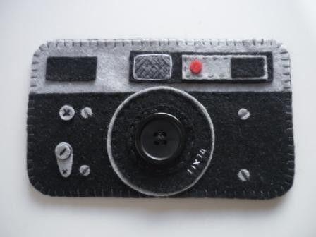 etui pour appareil photo t l phone portable en feutrine cousu la main avec des d tails en. Black Bedroom Furniture Sets. Home Design Ideas