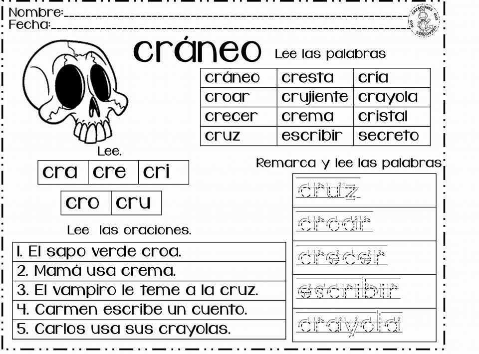Imagen Sobre Silabas Trabadas De Mariela En Ejercicios Lecto