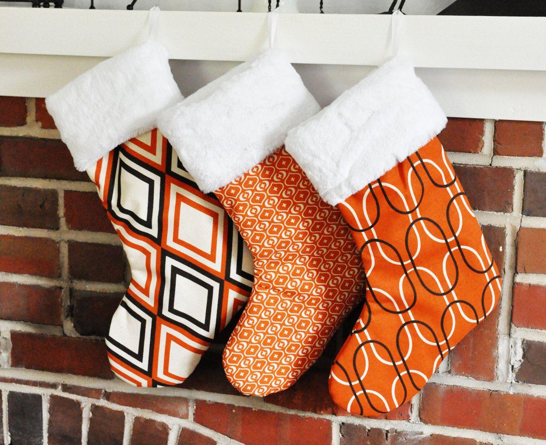 Orange Christmas Mod Stocking Shiba, Annie, & Akita Sweet Potato no.133 no.130 n0.136. via Etsy.