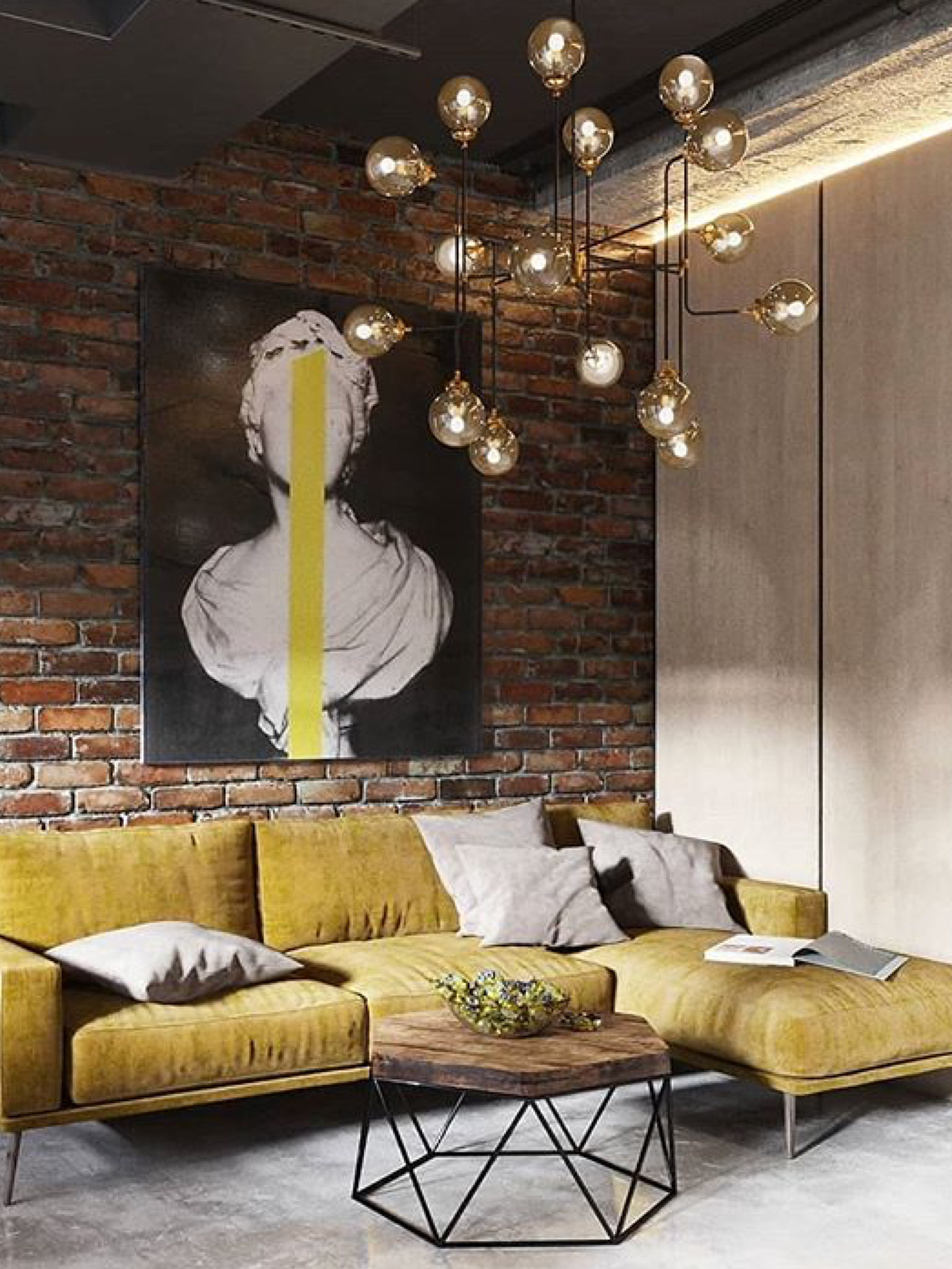 Yes A Sofa But For A Warehouse Industrial Living Room Design Loft Interior Design Brick Interior Wall #warehouse #living #room #furniture