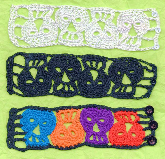 Ravelry: Day of the Dead Skull Bracelet pattern by Spider Mambo ...