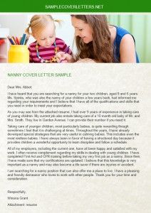 sample nanny cover letters