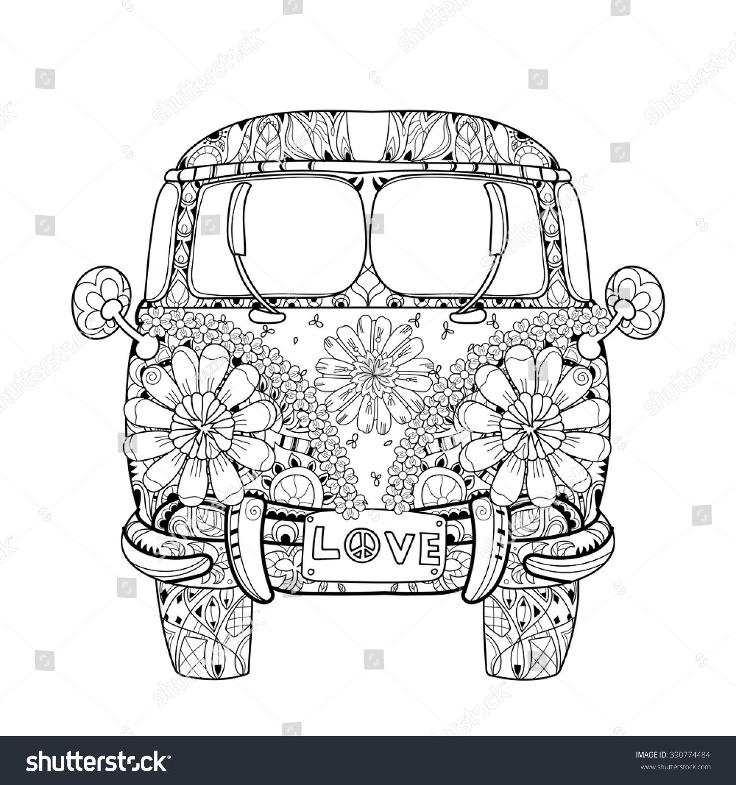 Hand drawn doodle outline retro bus travel decorated with ornaments front view Vector zentangle illustration Floral ornament Sketch for tattoo or coloring pages Boho style  is part of Coloring pages - Find Hand drawn doodle outline retro bus travel decorated with ornaments front view Vector zentangle illustration Floral ornament Sketch for tattoo or coloring pages Boho style stock vectors and royalty free photos in HD  Explore millions of stock photos, images, illustrations, and vectors in the Shutterstock creative collection  1000s of new pictures added daily
