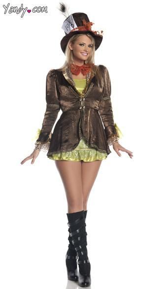 Ideas)) Mad Hatter costume features a green dress with lace - green dress halloween costume ideas