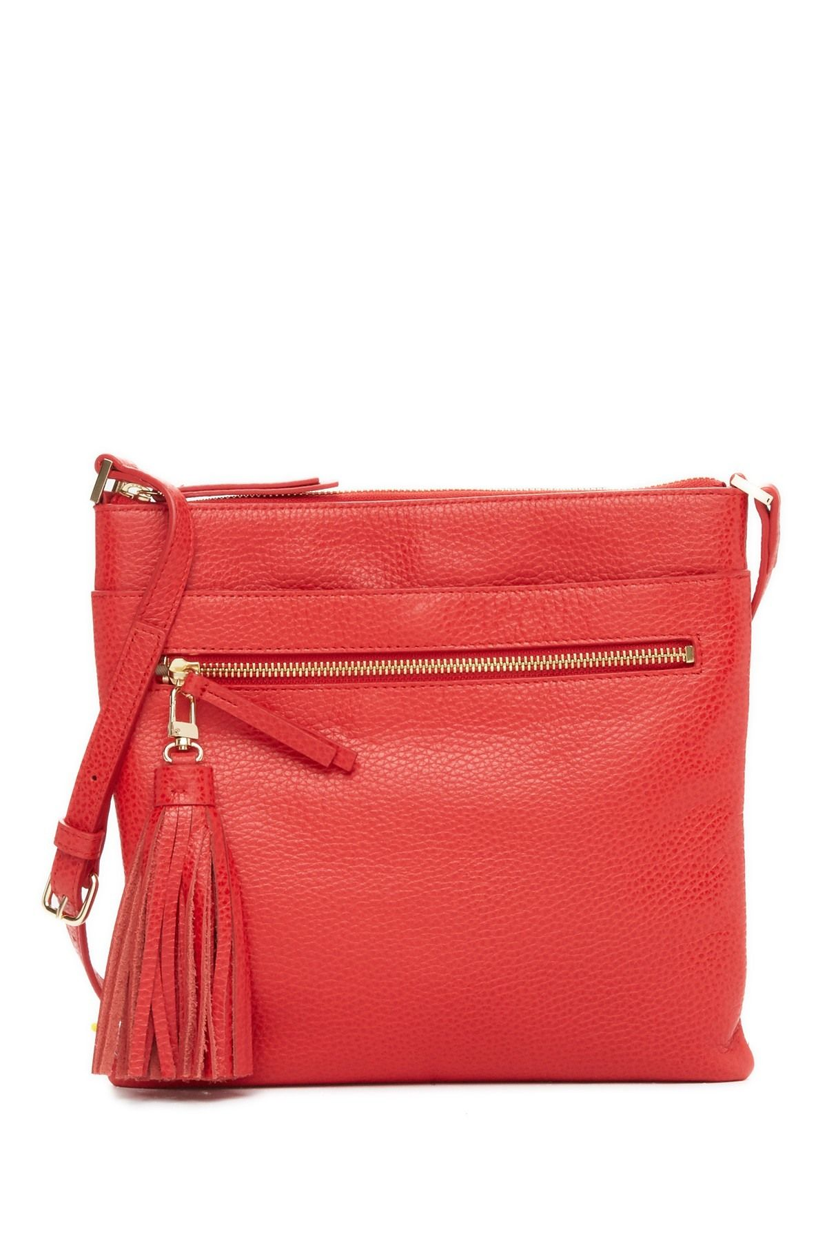 571796dc4b Image of Halogen Tasseled Leather Crossbody Bag Leather Crossbody Bag