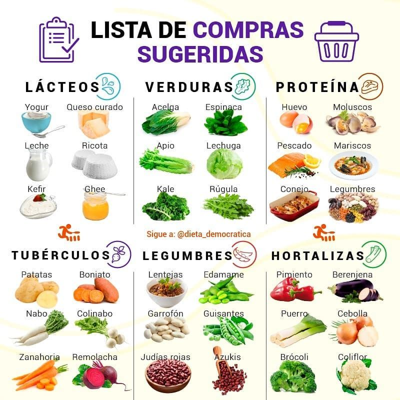 Lista de lacteos, verduras, proteína, tuberculos..