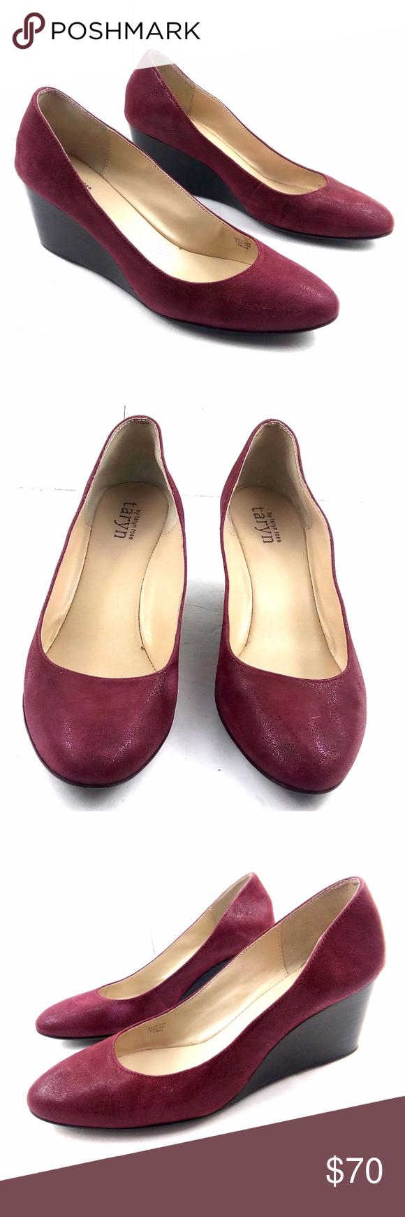 Taryn By Taryn Rose Kathleen 9 5 Red Emboss Wedges Taryn Rose Shoes Taryn Rose Wedges