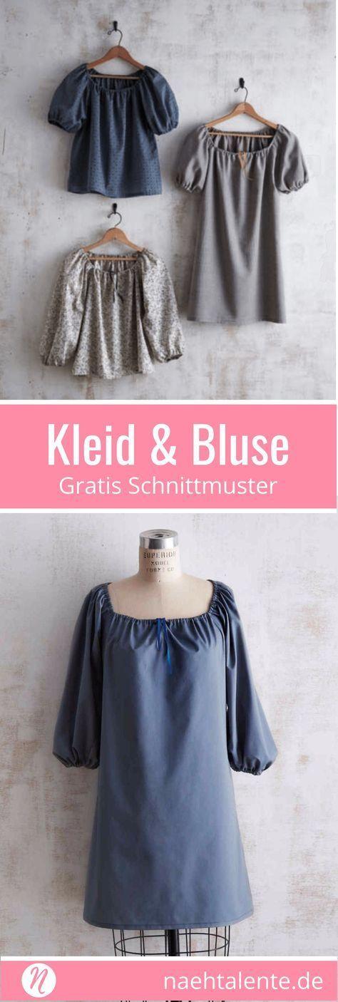 Kleid und Bluse mit gerafftem Ausschnitt | Freebook Gr. S/M/L | Nähtalente