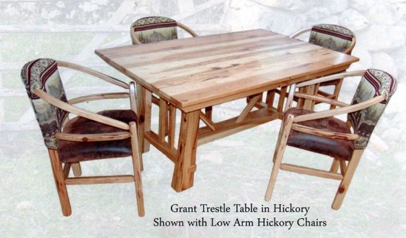 Trestle hickory table. Made by the Amish. For sale at our ...
