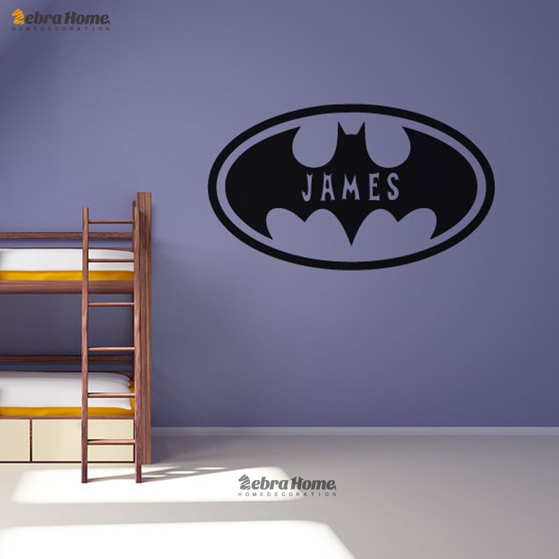 Batman Oval Personalised Customized Name Wall Stickers Home Decor Bat Vinyl  Decal Mural Wallpaper With Boys